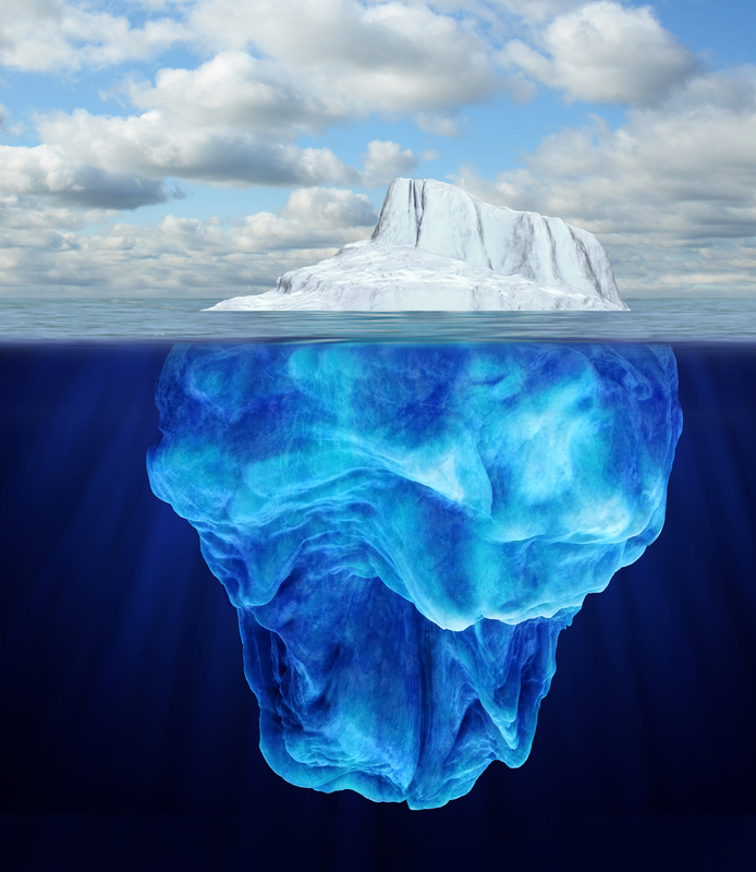 Iceberg above and below water level